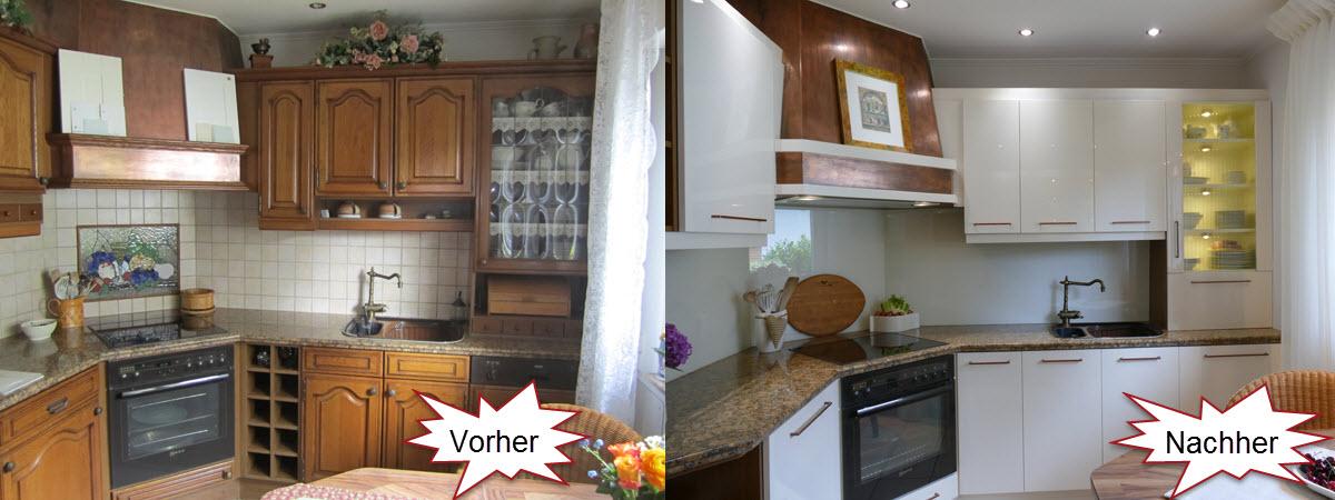 Küchenfronten Eiche Rustikal renoviert in Vanille Hochglanz kombiniert mit Rustikal