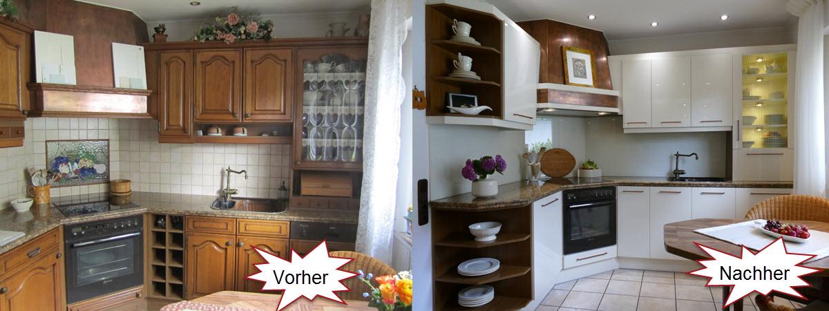Küchenfronten Eiche Rustikal renoviert in Vanille Hell Hochglanz