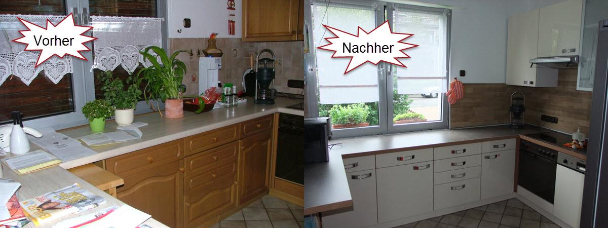 Küche Eiche Rustikal renoviert mit Küchenfronten in Vanille Hell Hochglanz