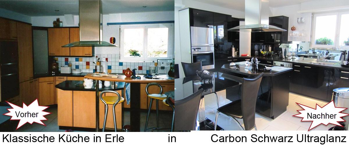 Klasische Küche renoviert mit Küchenfronten in Hochglanz Schwarz