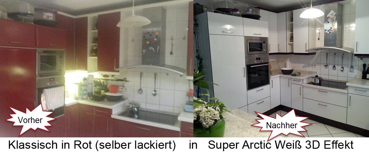 Rote Selbstlackierte Küchenfronten renoviert.Küchenfronten in Super Arctic Weiß 3D