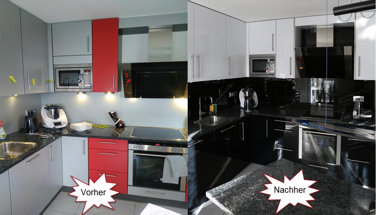 Renoviert: Hochglanz Küche in Schwarz weiß Kombination