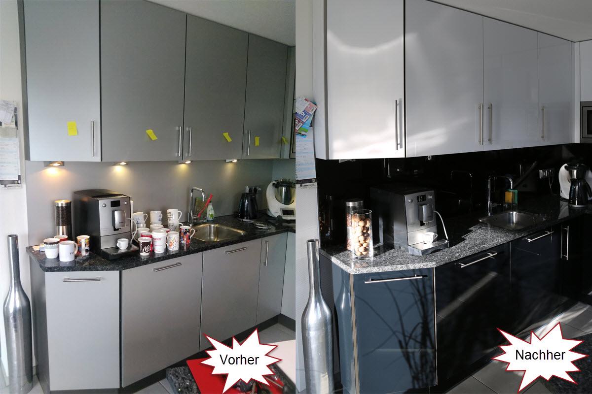 Hochglanz Küche in Schwarz weiß Kombination