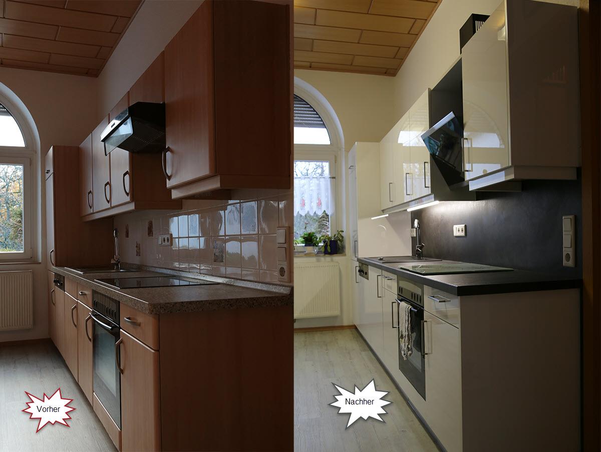 Klasiche Küche in Buche renovieert in Ultraglanz Arctic Weiß. Neue Arbeitspaltte und Wandverkleidung