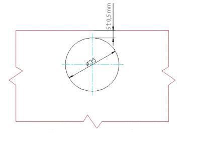 Scharnierbohrung Universal 35 mm mit Scharniertopf-Befestigungsschrauben